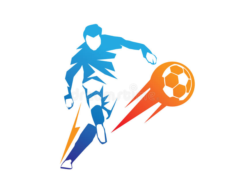 Football Player In Action Logo - Ball On Fire Penalty Kick. Blue Football Player In Action Logo Kicking On Fire Ball From Penalty Area vector illustration