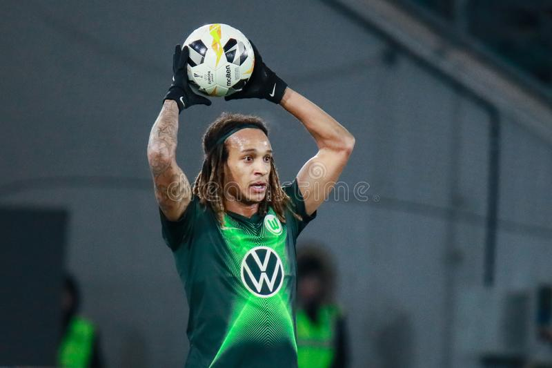 Football player Kevin Mbabu in action during the UEFA Europa League royalty free stock image