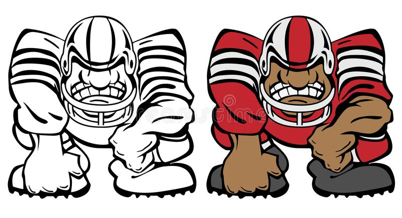 Football Player in a 3 Point Stance Cartoon Vector Illustration royalty free stock photography