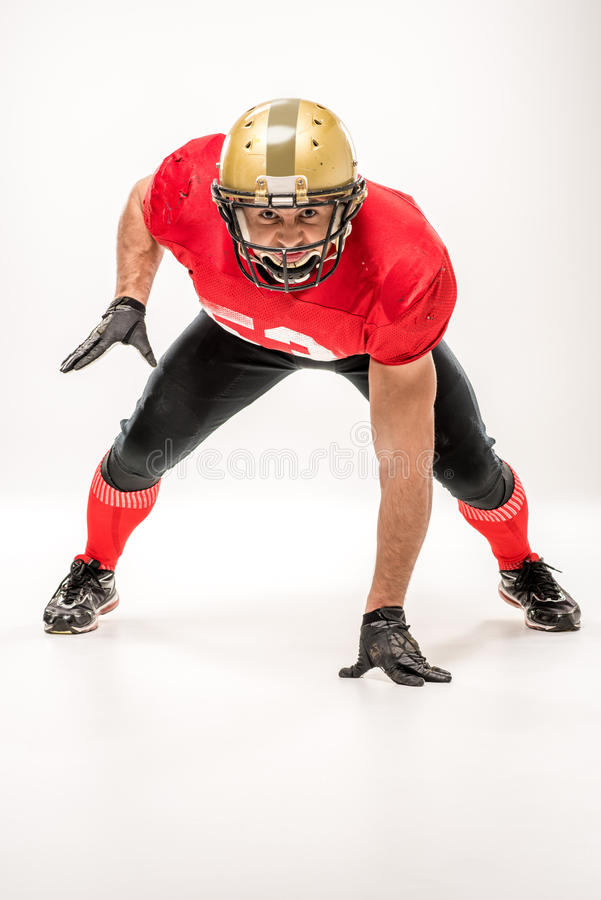 Football player in protective sportswear royalty free stock photos