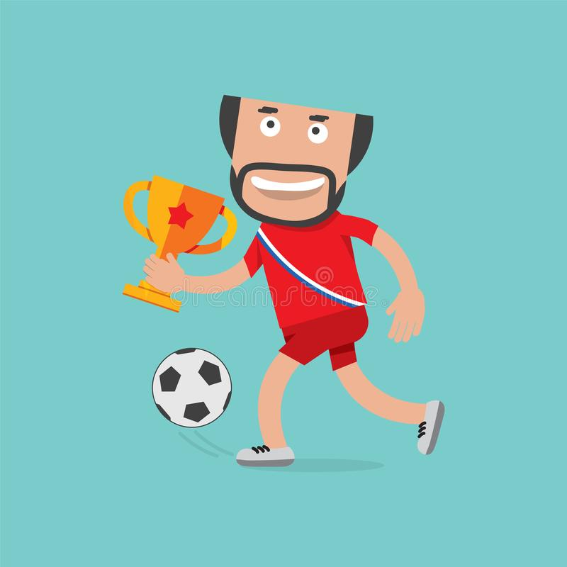Football Player In Red Shirt Celebrating Victory Holding Trophy vector illustration