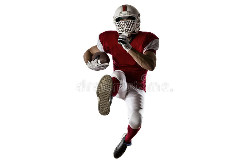 Football Player. With a red uniform Running on a white background stock image