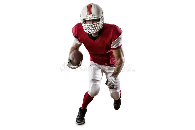Football Player. With a red uniform Running on a white background stock photography