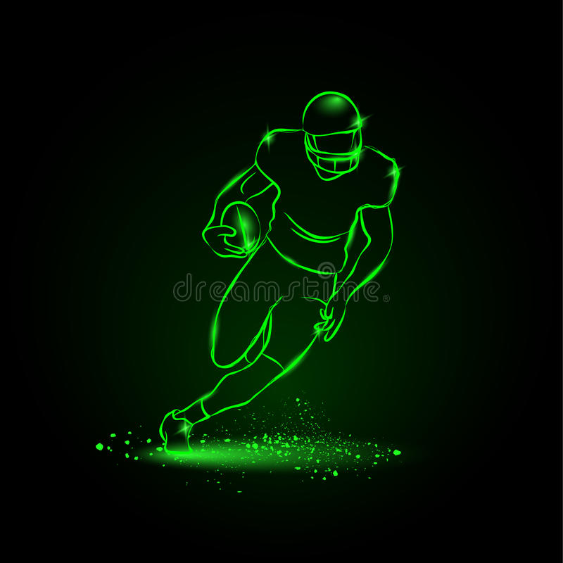 Football. The player runs away with the ball. neon style royalty free illustration