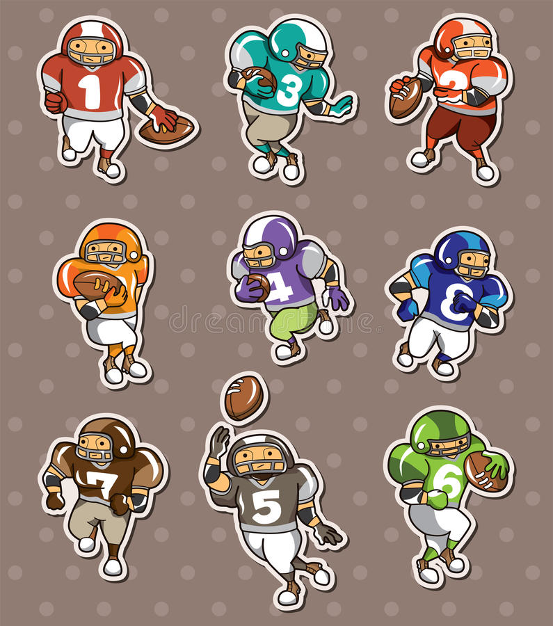 Download Football player stickers stock vector. Image of draw - 24552006