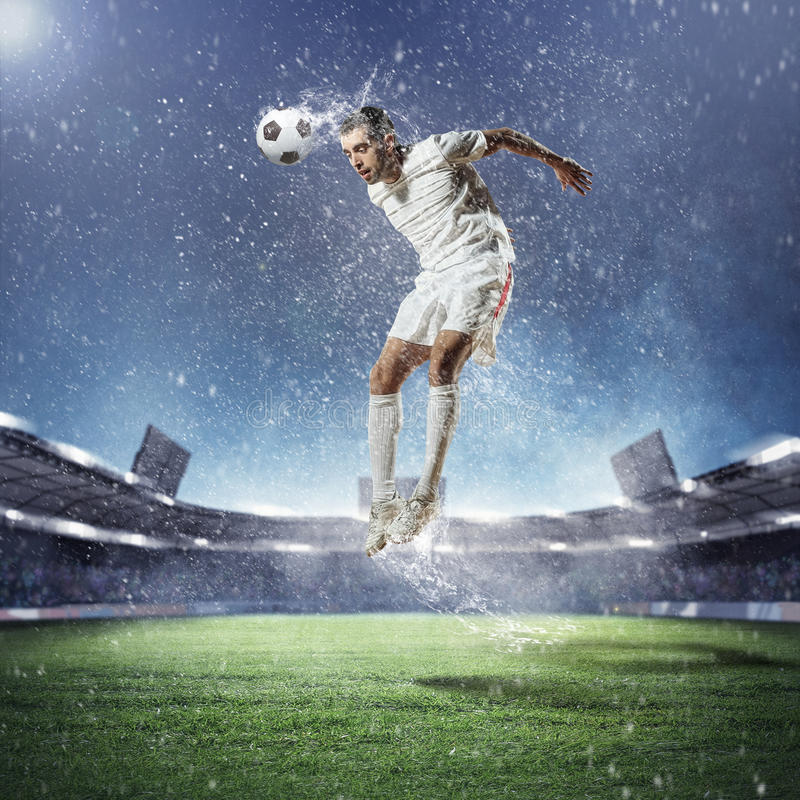 Free Football Player Striking The Ball Stock Images - 29641784