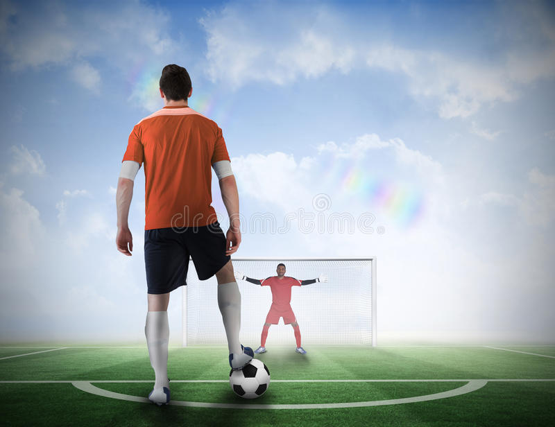 Football player about to take a penalty stock photos