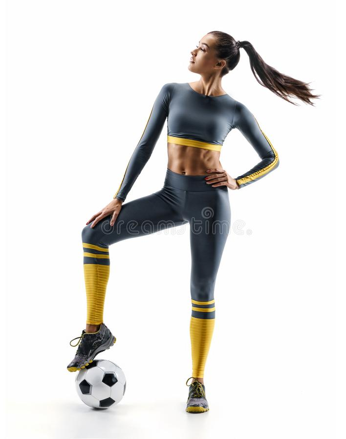 Football player woman standing in silhouette isolated on white background stock photos