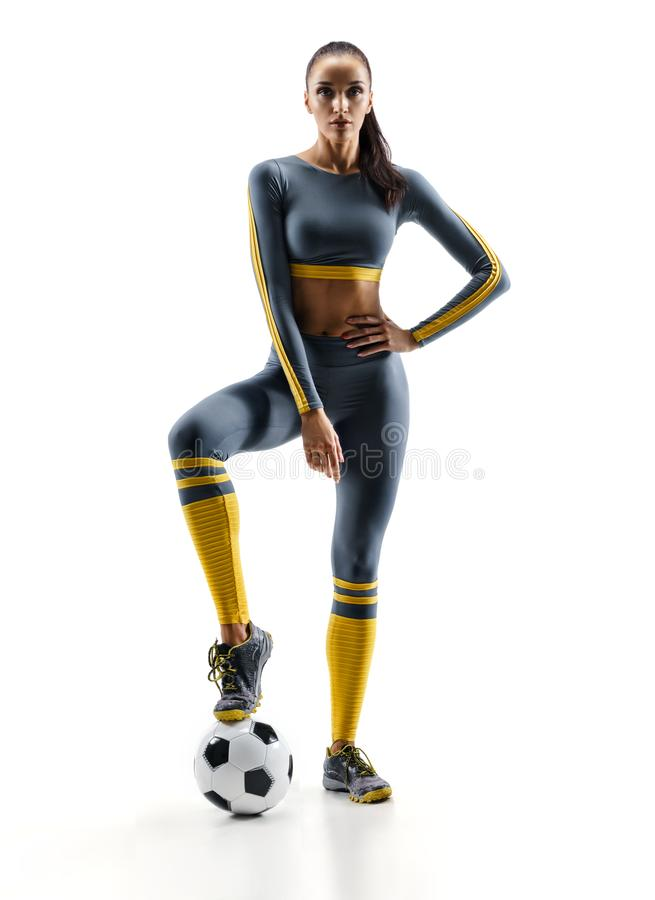Football player woman standing in silhouette stock image