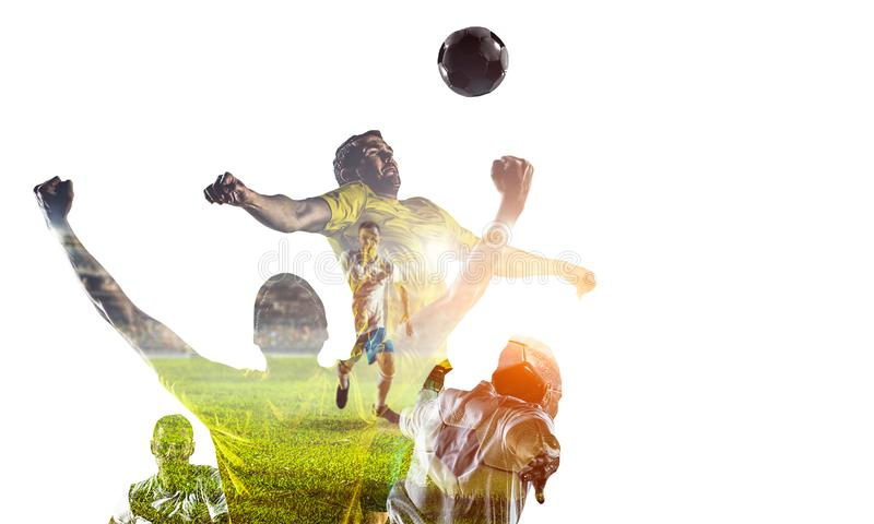 Abstract soccer theme - hottest match moments royalty free stock photography