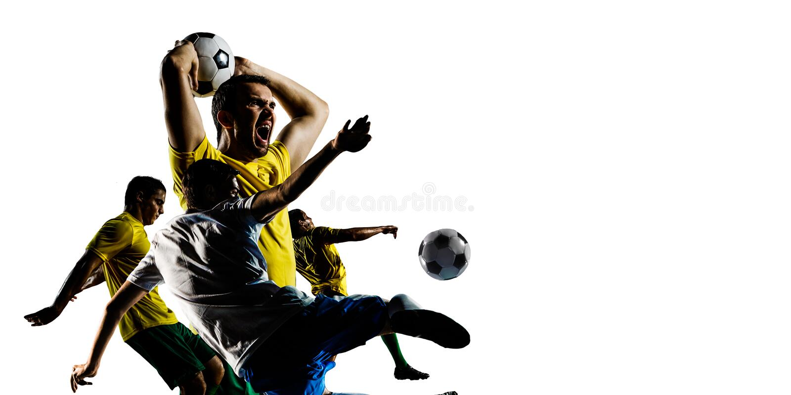 Abstract soccer theme - hottest match moments royalty free stock photo