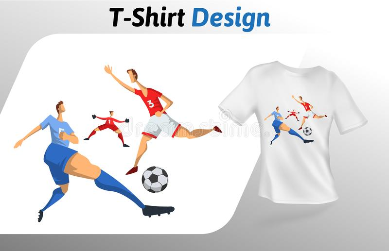 Football players in the game, sport event t-shirt print. Mock up t-shirt design template. Vector template, isolated on. Football players in the game, sport event stock illustration