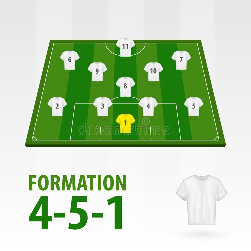 Football players lineups, formation 4-5-1. Soccer half stadium.  royalty free illustration