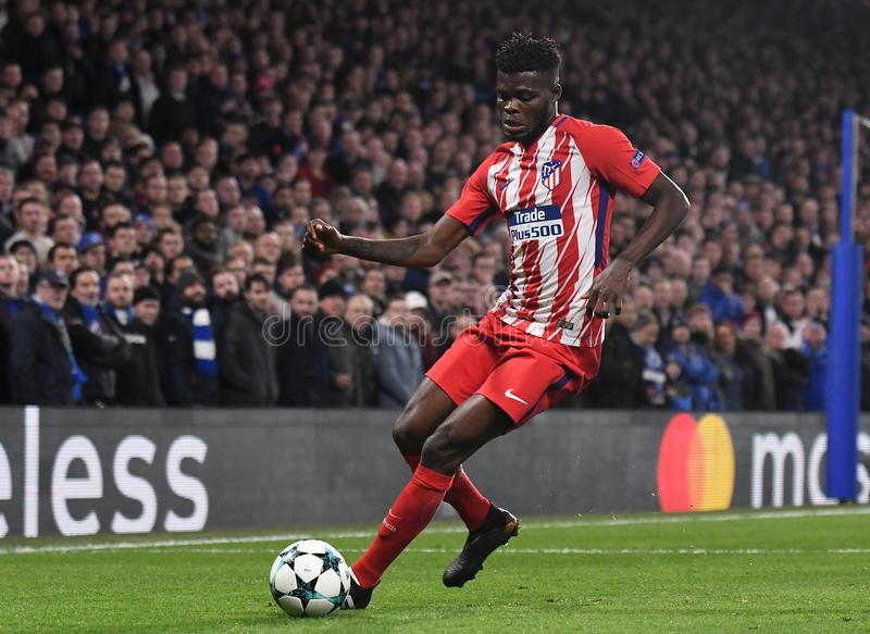 Thomas Partey. Football players pictured during the UEFA Champions League Group C game between Chelsea FC and Atletico Madrid on December 5, 2017 at Stamford royalty free stock photos