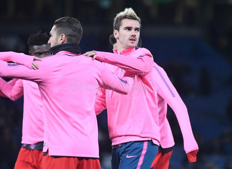 Antoine Griezmann. Football players pictured during the UEFA Champions League Group C game between Chelsea FC and Atletico Madrid on December 5, 2017 at Stamford stock photo