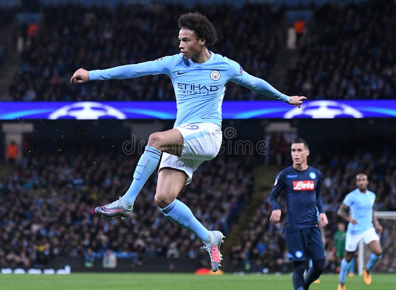 Leroy Sane. Football players pictured during the UEFA Champions League Group F game between Manchester City and Napoli on October 17, 2017 at City of Manchester stock photography