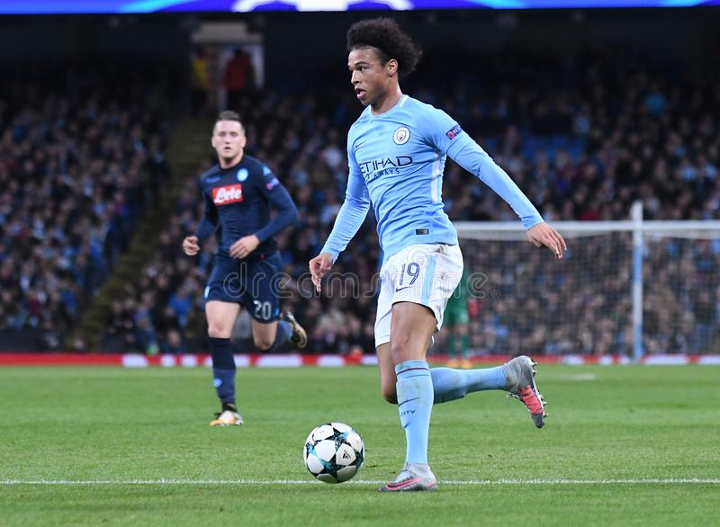 Leroy Sane. Football players pictured during the UEFA Champions League Group F game between Manchester City and Napoli on October 17, 2017 at City of Manchester royalty free stock photos