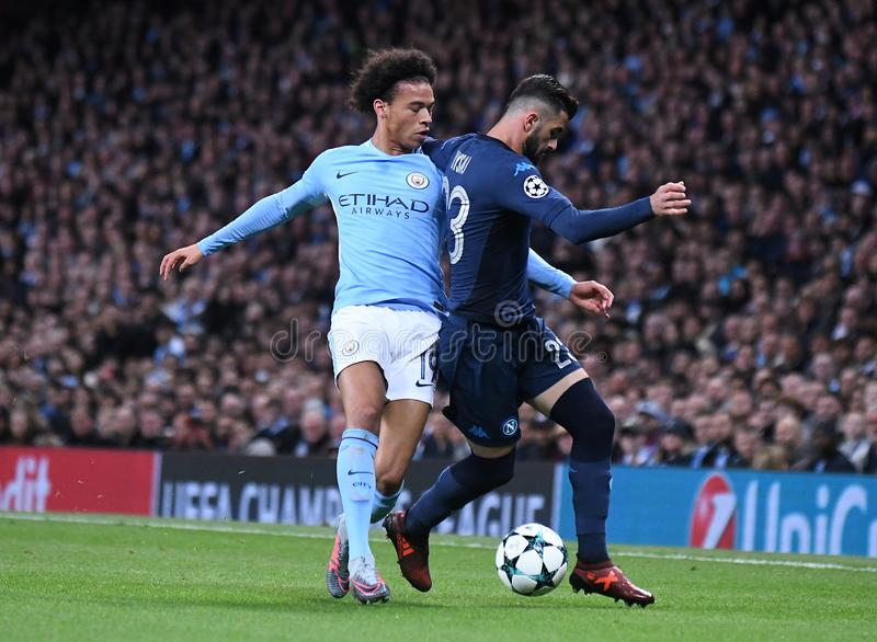 Leroy Sane. Football players pictured during the UEFA Champions League Group F game between Manchester City and Napoli on October 17, 2017 at City of Manchester stock photos