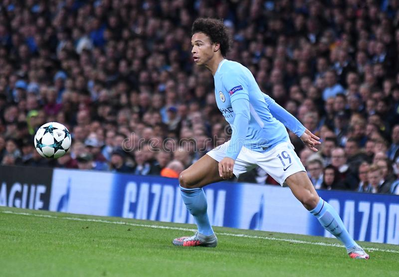 Leroy Sane. Football players pictured during the UEFA Champions League Group F game between Manchester City and Napoli on October 17, 2017 at City of Manchester royalty free stock image