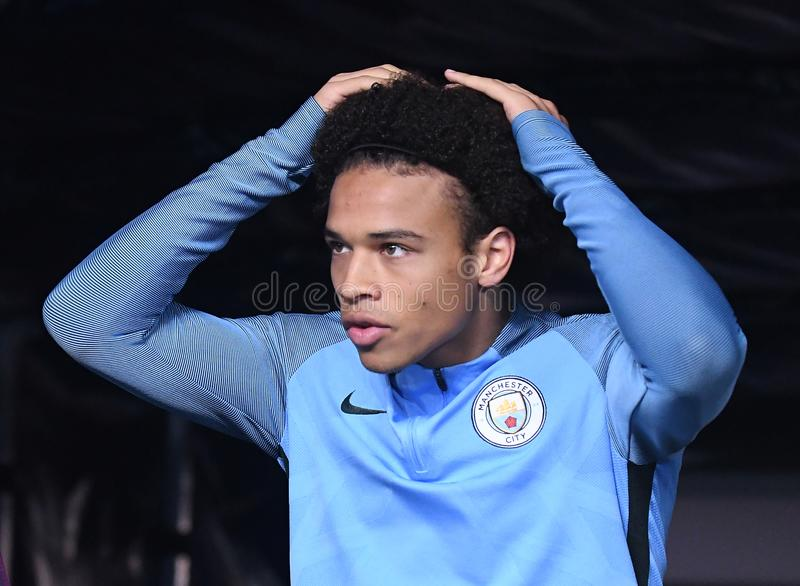 Leroy Sane. Football players pictured during the UEFA Champions League Group F game between Manchester City and Napoli on October 17, 2017 at City of Manchester stock image