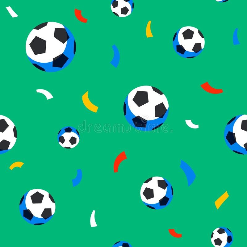 Football players seamless pattern. Sport championship. Soccer players with football ball. Full color background in flat vector illustration