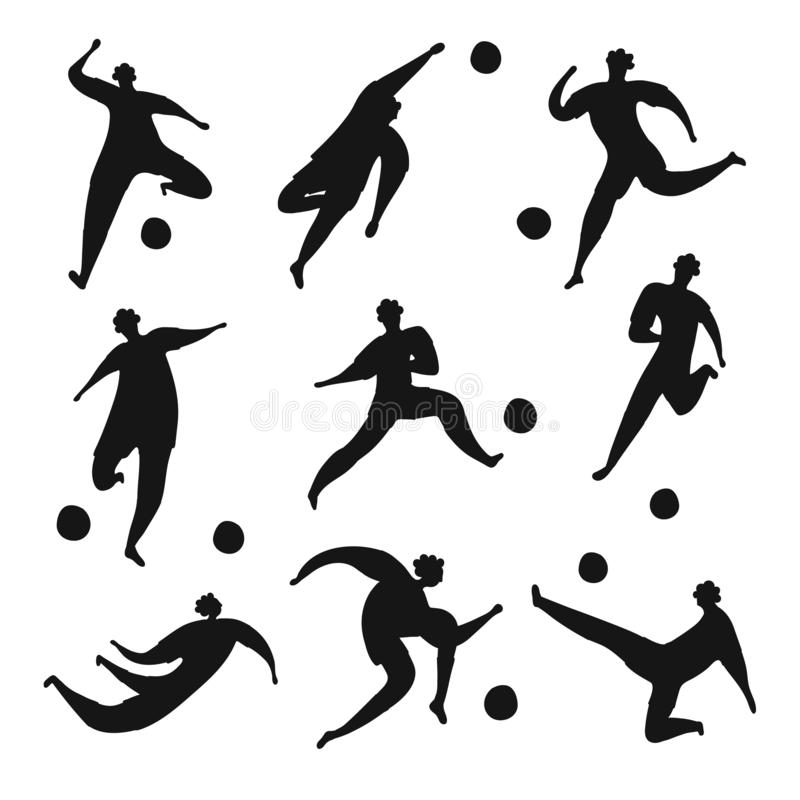 Football players silhouette big collection. vector illustration