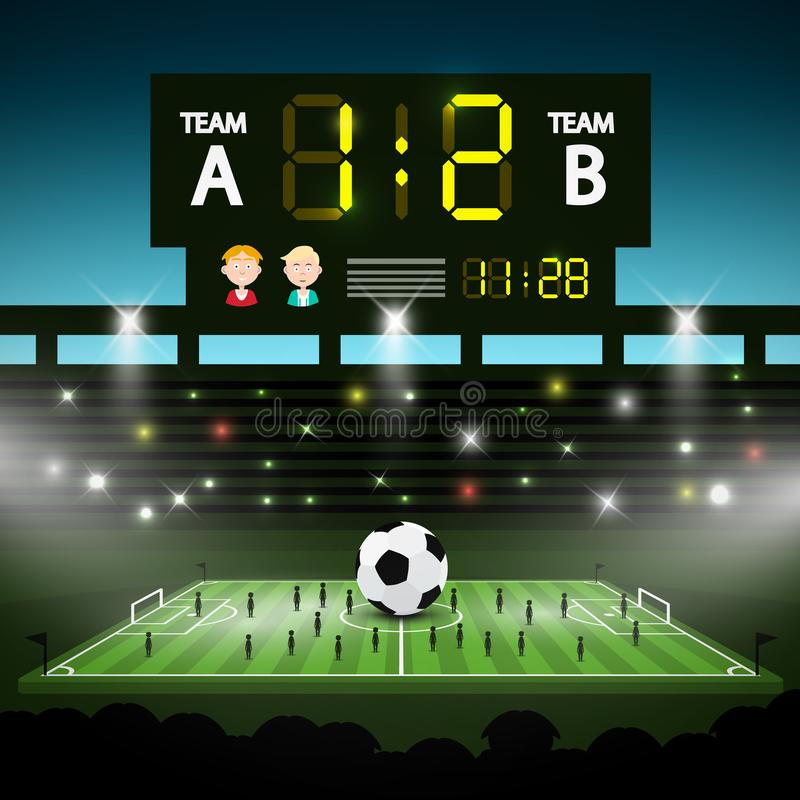 Football Playground with Big Scoreboard. vector illustration