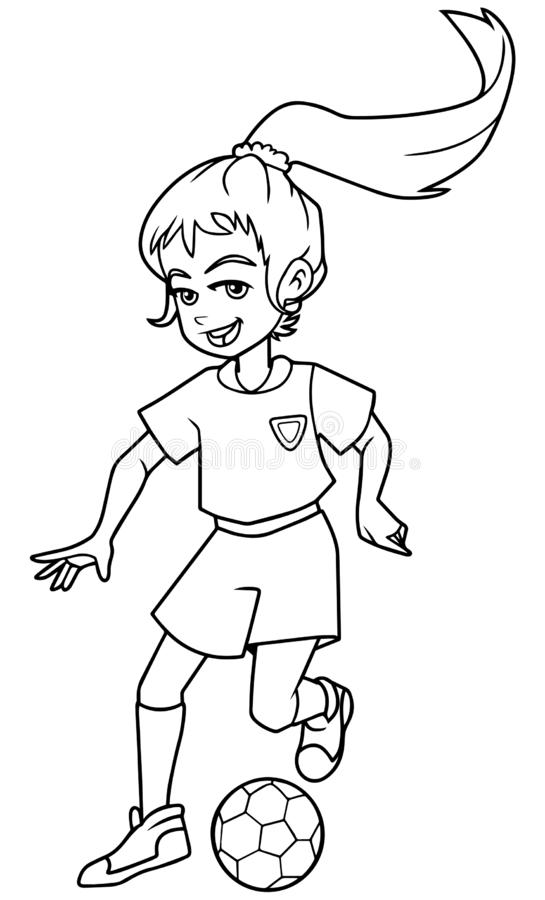 Football Playing Girl Line Art. Full length line art illustration of a skilled and competitive girl dribbling during football match against white background for vector illustration