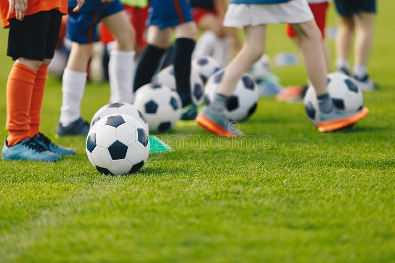 Football practice for youth. Children soccer training background. Group of young boys training soccer drills on green grass royalty free stock photography