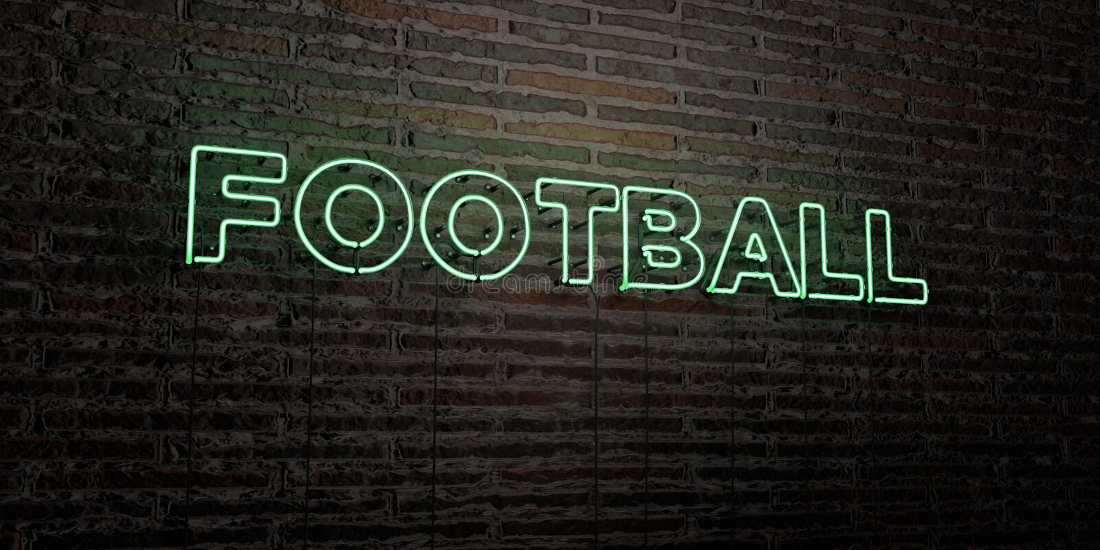 FOOTBALL -Realistic Neon Sign on Brick Wall background - 3D rendered royalty free stock image stock illustration
