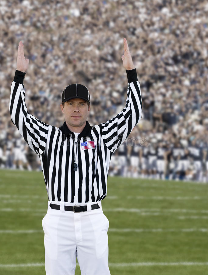 Football Referee Touchdown stock image