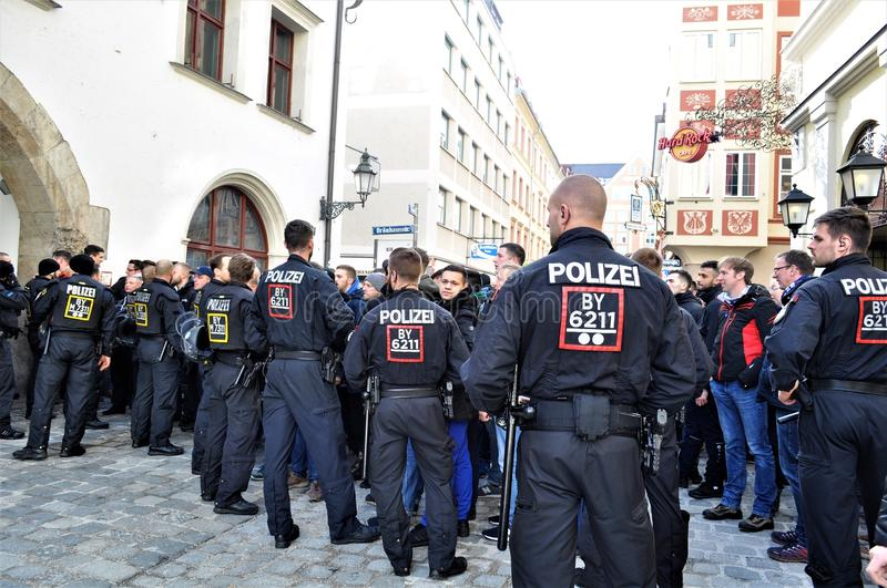 Police in Munich riot control football 4 stock photo
