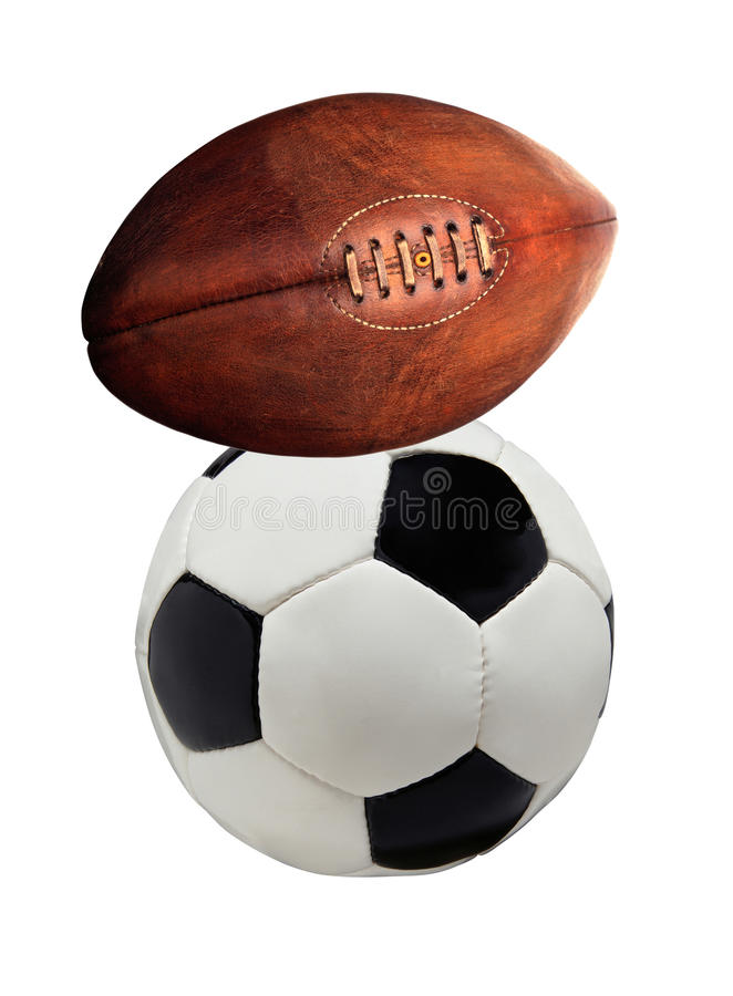 Football and rugby ball isolated royalty free stock photo