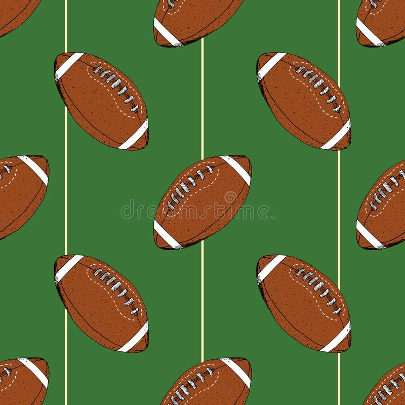 Football, rugby ball seamless pattern hand drawn sketch, vector illustration.  stock illustration