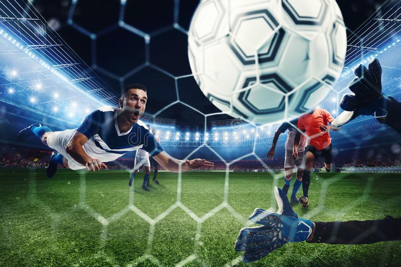 Football scene with competing football players at the stadium. 3D Rendering stock photos