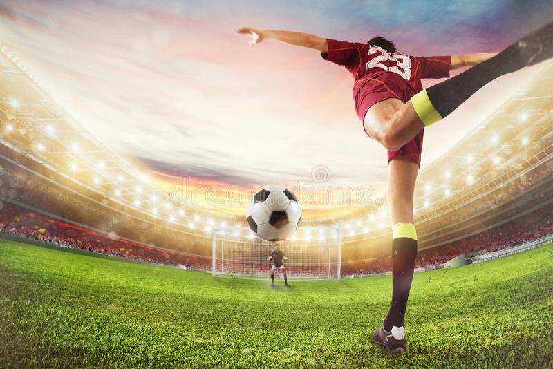 Soccer striker hits the ball with an acrobatic kick. 3D Rendering stock photos