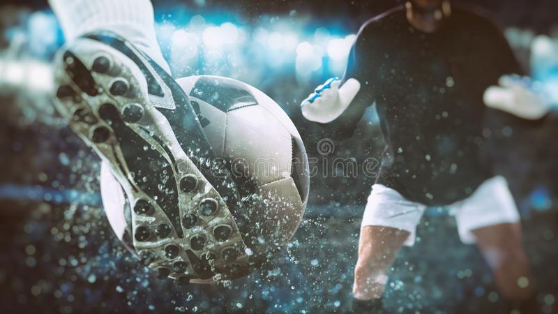 Football scene at night match with close up of a soccer shoe hitting the ball with power. Soccer player kicks the ball vigorously at the stadium royalty free stock photography