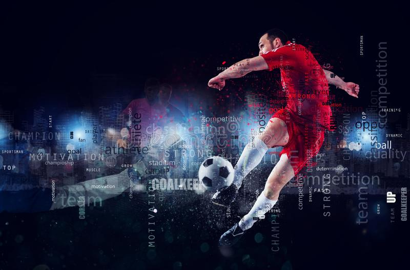 Football scene of a soccer player in action. Text effect in overlay with the most used terms. Abstract background royalty free stock photos
