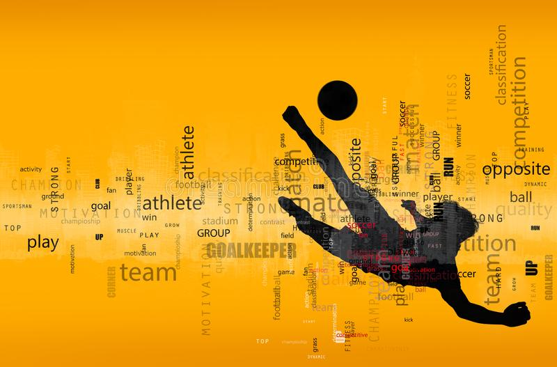 Football scene of a soccer player silhouette in action. Text effect in overlay with the most used terms. Abstract stock photo