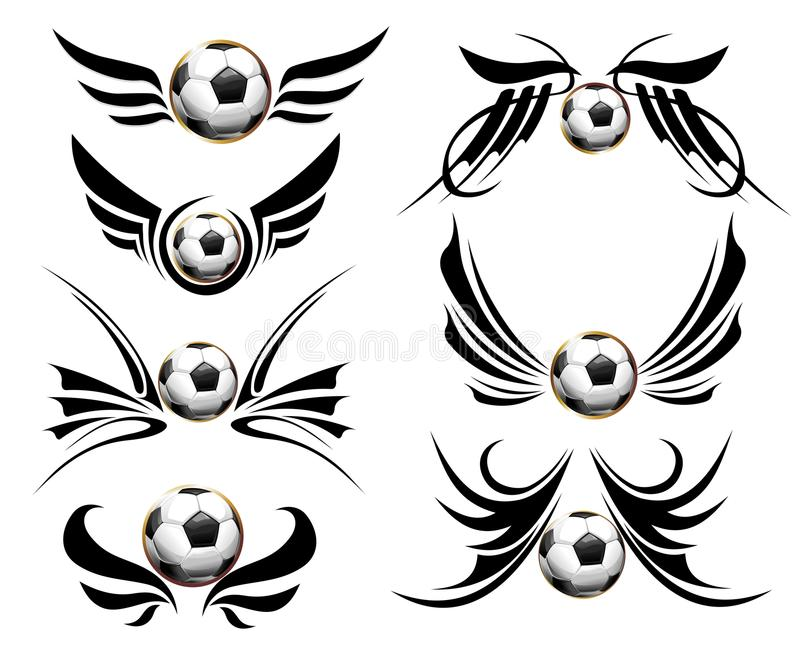 Download Football set stock vector. Image of playing, tattoo, action - 14442155