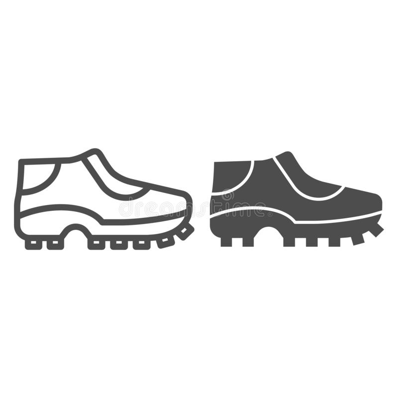 Football shoes line and glyph icon. Soccer shoes vector illustration isolated on white. Sport footwear outline style royalty free illustration