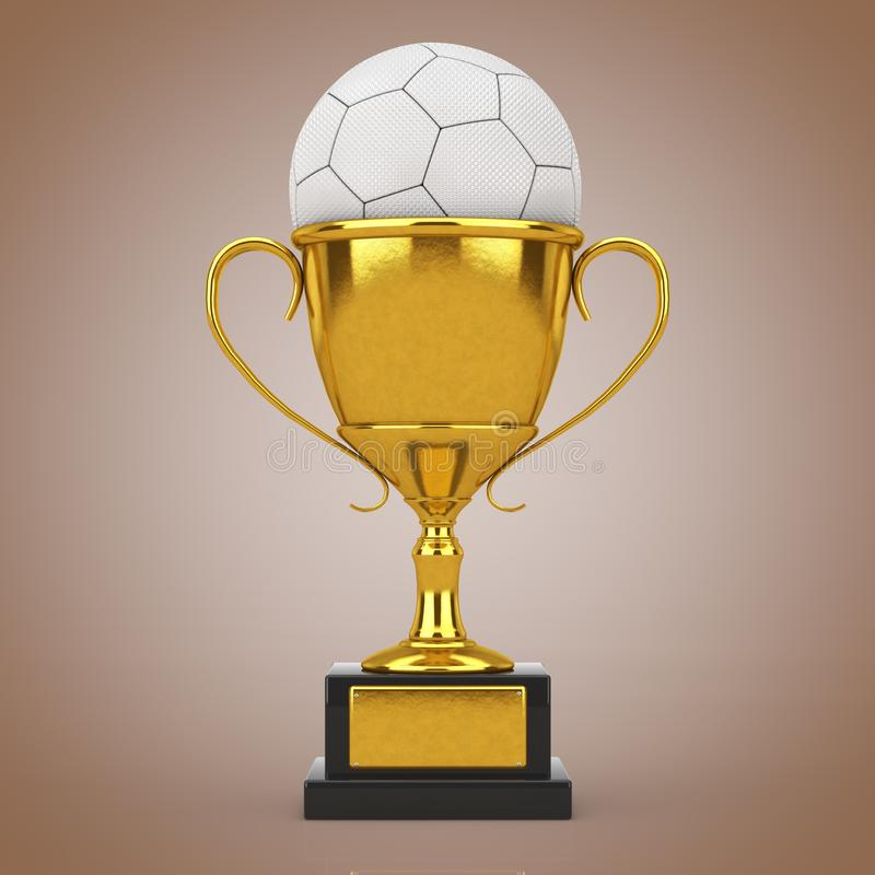 Football Soccer Award Concept. Golden Award Trophy with White Leather Football Soccer Ball. 3d Rendering royalty free stock photography