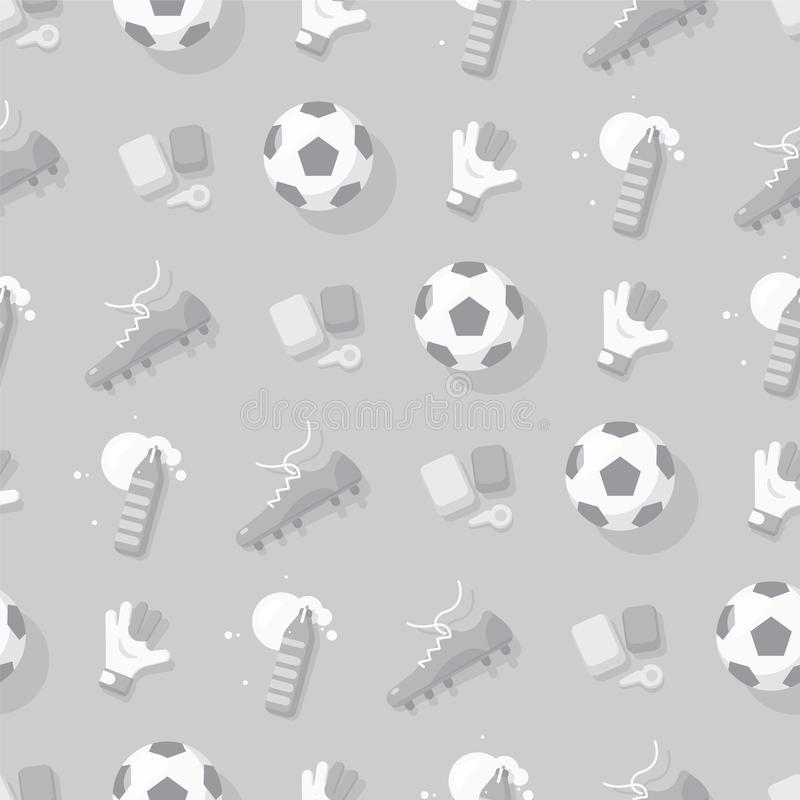 Free Football / Soccer Background With Sport Equipment. Gray Seamless Pattern. Royalty Free Stock Photos - 121122188