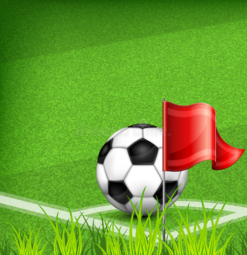 Football (soccer) Ball On Corner Of Field And Flag Royalty Free Stock Images