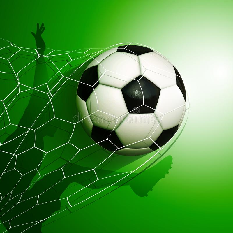 Football soccer ball flying into the goal net with a player. Silhouette on background stock illustration