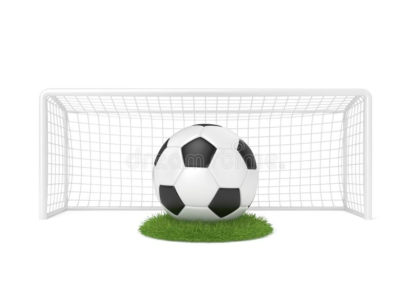 Football - soccer ball in front of goal gate on grass circle. 3D render royalty free illustration