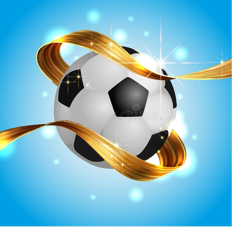 Football soccer ball with gold award ribbon ribbon 3D design, stock vector illustration stock illustration