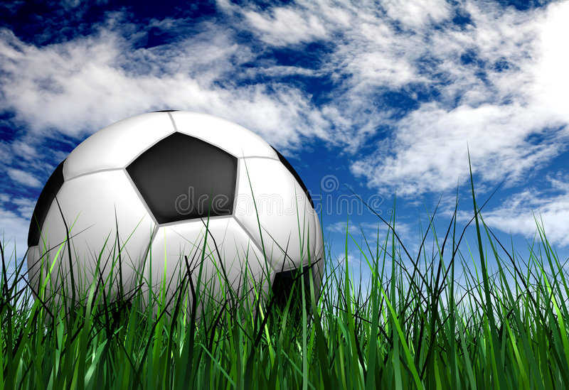 Football or soccer ball on the grass