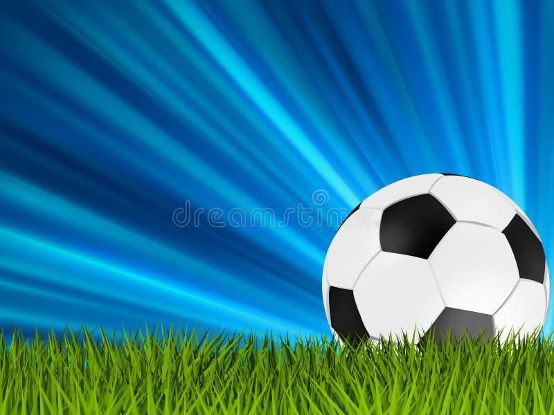 Football or soccer ball on grass. EPS 8 royalty free illustration
