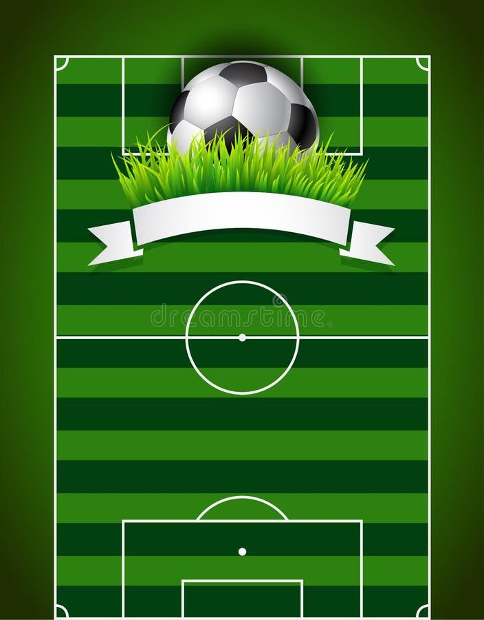 Football soccer ball on green field background stock illustration